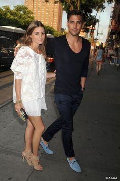 Olivia Palermo und Johannes Hübl auf dem Weg zu einem Event in New York City am 15. Juli 2013.