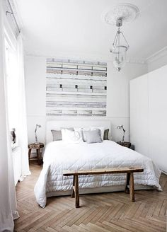 Gorgeous #white and #wood #bedroom