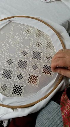 Diy Crafts - Notice the cotton layer under the hoop to save your hardanger. - Her Crochet Floral Embroidery Dress, Embroidery Fashion, Hand Embroidery Patterns, Embroidery Stitches, Border Embroidery, Do It Yourself Decoration, French Knot Stitch, Learning To Embroider, Drawn Thread