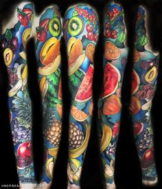 Berries and Fruits tattoo sleeve