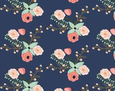 Summer Flowers Fabric - Summer Floral Navy - Navy Floral - Flowers By Modfox - Flowers Cotton Fabric By The Yard With Spoonflower