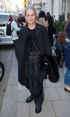 Lucinda Chambers, Fashion Director at British Vogue, is wearing a Marni coat