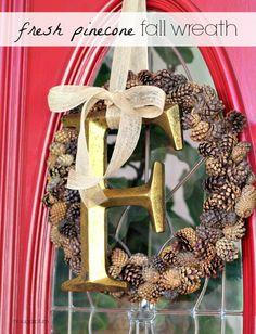 {Fall Craft} Fresh Pinecone Wreath