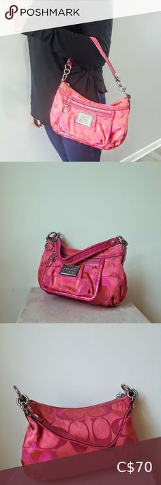 Coach Poppy Hot Pink Handbag This fuschia hot pink coach signature purse is so cute. It has a short shoulder strap, with tons of stainless steel hardware and a nice silver coach badge on the front. The strap is trimmed with pink patent genuine leather.   FEATURES: + Coach Signature  + Cute hobo style + Heavy stainless hardware throughout Coach Bags Satchels Pink Handbags, Coach Handbags, Coach Bags, Coach Poppy, Hobo Style, Plus Fashion, Fashion Tips, Fashion Trends, Satchels
