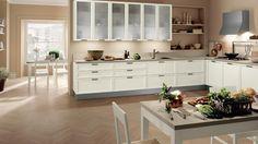 idee colore pareti cucina - pareti color crema - Colori Parete Cucina Bianca