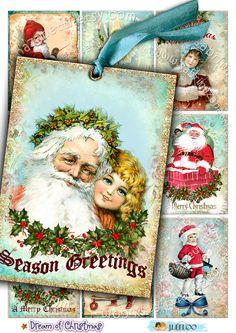 Digital sheet DREAM OF CHRISTMAS printable santa by byJLeeloo