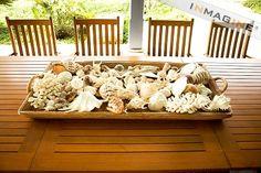 I like the low oblong shape as opposed to the glass jars seen everywhere else. Seashell ideas for beach wedding Coastal Homes, Coastal Decor, Beachy Centerpieces, Beach Crafts, Seashell Crafts, Surfs Up, Tropical, Beach Themes, Beach Ideas