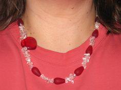 OOAK Asymmetric Red Heart Necklace American by FeedYourNeedDesigns, $15.00