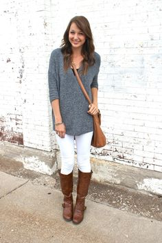 How to carry over white jeans into fall!