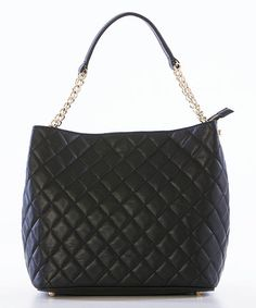 Look what I found on #zulily! Black Quilted Chain-Strap Leather Shoulder Bag by Lucca Baldi #zulilyfinds