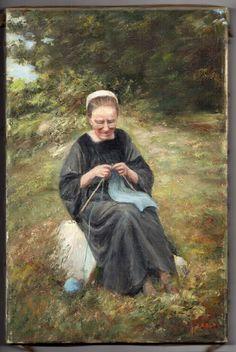 Portrait D'UNE Bretonne LA Tricoteuse Signé Geraldy Réalisme Barbizon Début 20E | eBay