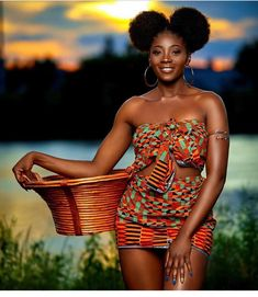 Kente style is one of the most well-liked African dressing designs, A blend of Ankara and kente fabrics will cause numerous creations. African Fashion Ankara, African Inspired Fashion, African Print Fashion, African Prints, Ghanaian Fashion, African Girl, African Beauty, African Women, Beautiful Dark Skinned Women