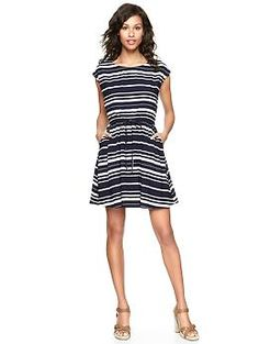 Stripey drawstring flare dress from Gap- love how you can take this from desk, beach, dinner, all in one. Has tons of shoe options too