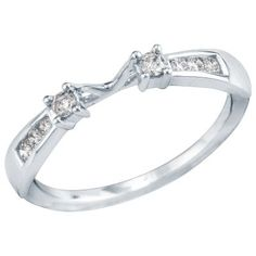 1/5 ct. tw. Diamond Ring Wrap in 14K Gold available at #HelzbergDiamonds. perfect for my 1/4 ct solitaire!! would make an amazing wedding band too :)