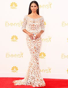 Sheer brilliance! Camila Alves dazzled in a white gown from Zuhair Murad's Resort 2015 Ready-to-Wear Collection at the 2014 Emmys.