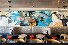 Sample 10 Tasty New Restaurants Around the Globe | Firm: Workshop/APD. Restaurant: Taka. Location: Asbury Park, NJ. Standout: Grasshopper software was used to create the undulating exterior brickwork, a bitmap converted from a wave in the Walter Myers mural inside, where acrylic pendant globes mingle with oak ceiling panels and Concertex's starburst Polaris upholstery. #design #interiordesign #interiordesignmagazine #projects #restaurants