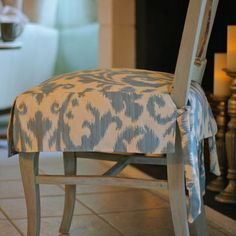 Dining Chair Seat Slip Cover With Button Tabs Instead Of Ties
