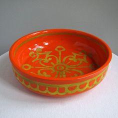 Mid Century Italian Pottery Bowl in Orange and Yellow - Large - Wanamaker Label