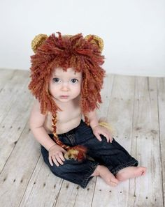 This would be a cute Halloween costume... Lion Beanie Hat Baby Crocheted Unique by PreciousMomentsProps