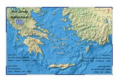 The Greek Isles were so special to this Traveler that she went back not twice or three times, but FOUR! And this map captures each trip. Travel Tours, Travel Maps, Greek Isles, Anniversary Present, Custom Map, Travel Memories, Crete, Mykonos, Tour Guide