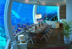 Poseidon submerged hotel in Fiji Islands. This elegant submerged hotel is located on a coral reef in the Fiji Islands.Located more than 12 meters deep. Underwater Film, Underwater Bedroom, Underwater House, Fiji Underwater Hotel, Underwater Cartoon, Underwater Photos, Hotel Subaquático, Hotel Decor, Fiji Water