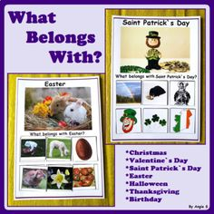 Holidays and Celebration for Special Education, What Belongs with? The holidays included are: Thanksgiving, Halloween, Christmas, Valentine`s Day, Saint Patrcik`s Day, Easter and Birthday. This is a great activity for Pre-K, K and kids with autism.There are 14 pages that must be printed on photo paper and laminated. Cut the cards out and use velcro on the back side. Use some velcro in the center of the blank squares on the first 6 pages as well.