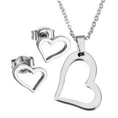1 Set Stainless Steel Jewelry Sets Heart Charm Stud Earring Love Pendant