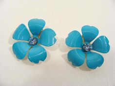 vintage 60s Spring Blue Enamel Flower Clip On Earrings with Rhinestone Centers by wardrobetheglobe on Etsy, $14.00