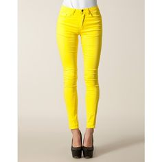 Vila Cleavo Hw 5 Pocket Pants ($19) ❤ liked on Polyvore featuring pants, jeans, bottoms, calças, trousers & shorts, yellow, womens-fashion, yellow pants, zip pants and vila