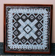 Designer mud work frame mud wall art designer wall work work done by inside out interior ahmadabad gujarat : modern by inside out interior ,modern Clay Wall Art, Mural Wall Art, Mural Painting, Murals, Canvas Art Projects, Clay Art Projects, Mirror Crafts, Mirror Art, Madhubani Art