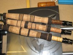 Walnut, Mappa Wood, and Maple inserts on fly reel seats