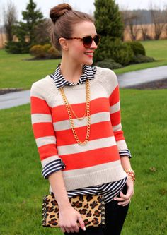 double stripe/orange/tortoiseshell/leopard print/ for heavens sake i love this outfit!