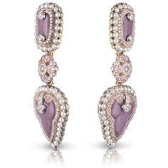 Faberge Scheherazade Earrings evoke the Belle Époque era. Lavender Jasper, White & Pink Diamonds, Pearls set in Platinum