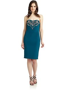 Notte by Marchesa Strapless Embellished Silk Cocktail Dress