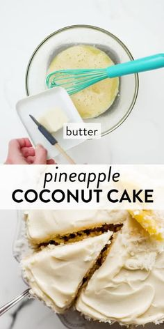 This pineapple coconut cake is supremely moist and cloud-like soft with extra coconut packed in each bite. Homemade pineapple curd adds another layer of sweet tropical flavor inside the cake. #cakerecipes #cakedecorating #pineapplecake #coconutcake Cake Recipes For Beginners, Best Cake Recipes, Pineapple Cake, Pineapple Coconut, Pina Colada Cake, Canned Juice, Cooking Cake, Sallys Baking Addiction, Birthday Desserts