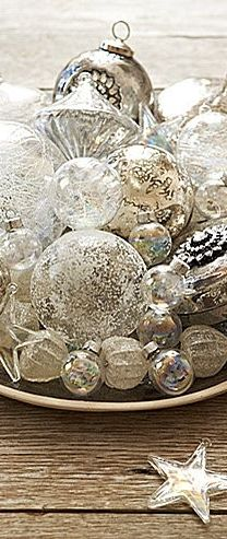 love the tray full of mercury glass ornaments                                                                                                                                                                                 More