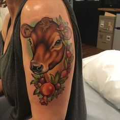 My new, beautiful Jersey Cow tattoo from Chelsea Shoneck