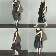 Gray Cotton Sleeveless Long Casual Dress LR939
