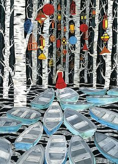 this is an enchanting scene with some of my favorite things, birches, chinese lanterns, and boats.
