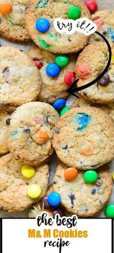 Loaded with chocolate chips and M Best M&m Cookie Recipe, M&m Recipe, Cookie Recipes, Dessert Recipes, Almond Cookies, No Bake Cookies, Like Chocolate, Chocolate Chips, Frozen Cookie Dough
