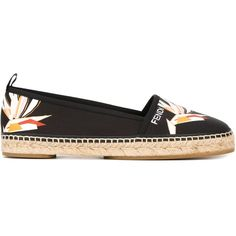 Fendi Bird of Paradise print espadrilles (3.240 HRK) ❤ liked on Polyvore featuring shoes, sandals and black