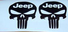 "2X 5"" Punisher Skull Jeep Text Vinyl Decal Stickers | eBay"