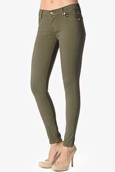 7 For All Mankind, SEVN-7662 The Slim Illusion Skinny in Army Green, 7forallmankind.com