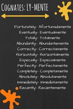 English Classes with Rachel: Cognates: LY-MENTE Spanish/English cognates Spanish Help, Spanish Practice, Learn To Speak Spanish, Spanish English, Spanish Cognates, Spanish Phrases, Spanish Vocabulary, Spanish Words, Spanish Grammar