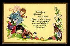 Ak Litho c 1920 Ostern Kinder Hase Rabbit