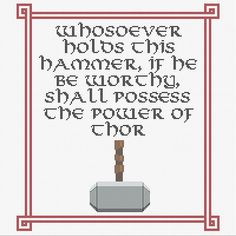 Thor's Hammer quote counted cross stitch PDF by CapesAndCrafts, £2.30