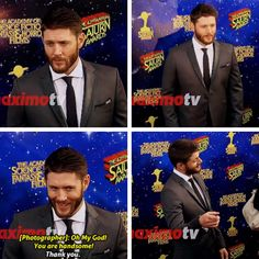 Jensen responds to a photographer's compliment at the 2016 Saturn Awards. Click through for video link (Repinning for corrected quote)
