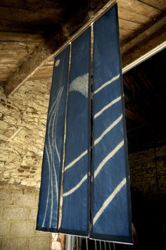 210 x 100cm shibori triptych indigo dyed. Designed and made by Annabel Wilson of Townhill Studio.