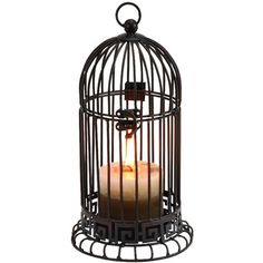 HOME DECOR – ILLUMINATION – CANDLE HOLDER – Candle holder with a birdcage-inspired silhouette. Product: Candleholder  Construction Material: Metal  Color: Black    Accommodates: (1) Candle Dimensions: 11 H x 6 Diameter