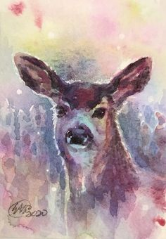 ACEO Original painting Deer Sunset Doe Artwork art Listed By Artist American #Realism Original Art For Sale, Gouache Painting, Wildlife Art, Gel Pens, See Photo, Watercolor Paper, Deer, Cool Things To Buy, American Realism